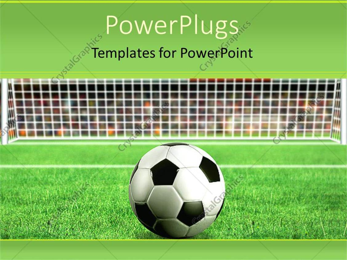 powerpoint template depiction of a football on grass in front of a net 11906. Black Bedroom Furniture Sets. Home Design Ideas