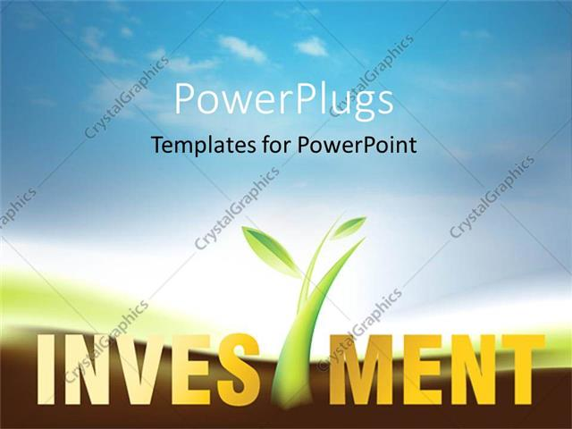 Powerpoint template a depiction of greenery and the word investment powerpoint template displaying a depiction of greenery and the word investment with clouds in the toneelgroepblik Image collections