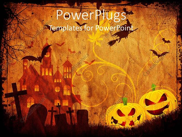 PowerPoint Template Displaying Depiction of Halloween with Bats in Sky and Carved Grapes