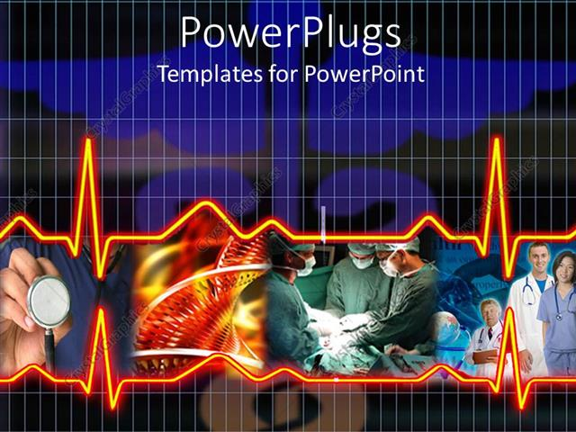 PowerPoint Template Displaying a Depiction of Medical Staff Along with Heartbeat Lines