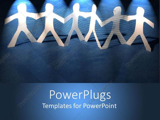 PowerPoint Template: Depiction of paper cut people holding hands on
