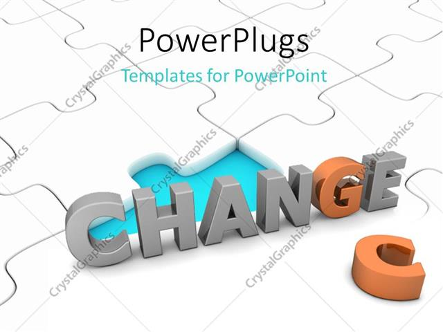 Powerpoint template depiction of taking chance to effect change on powerpoint template displaying depiction of taking chance to effect change on white jigsaw puzzle toneelgroepblik Images