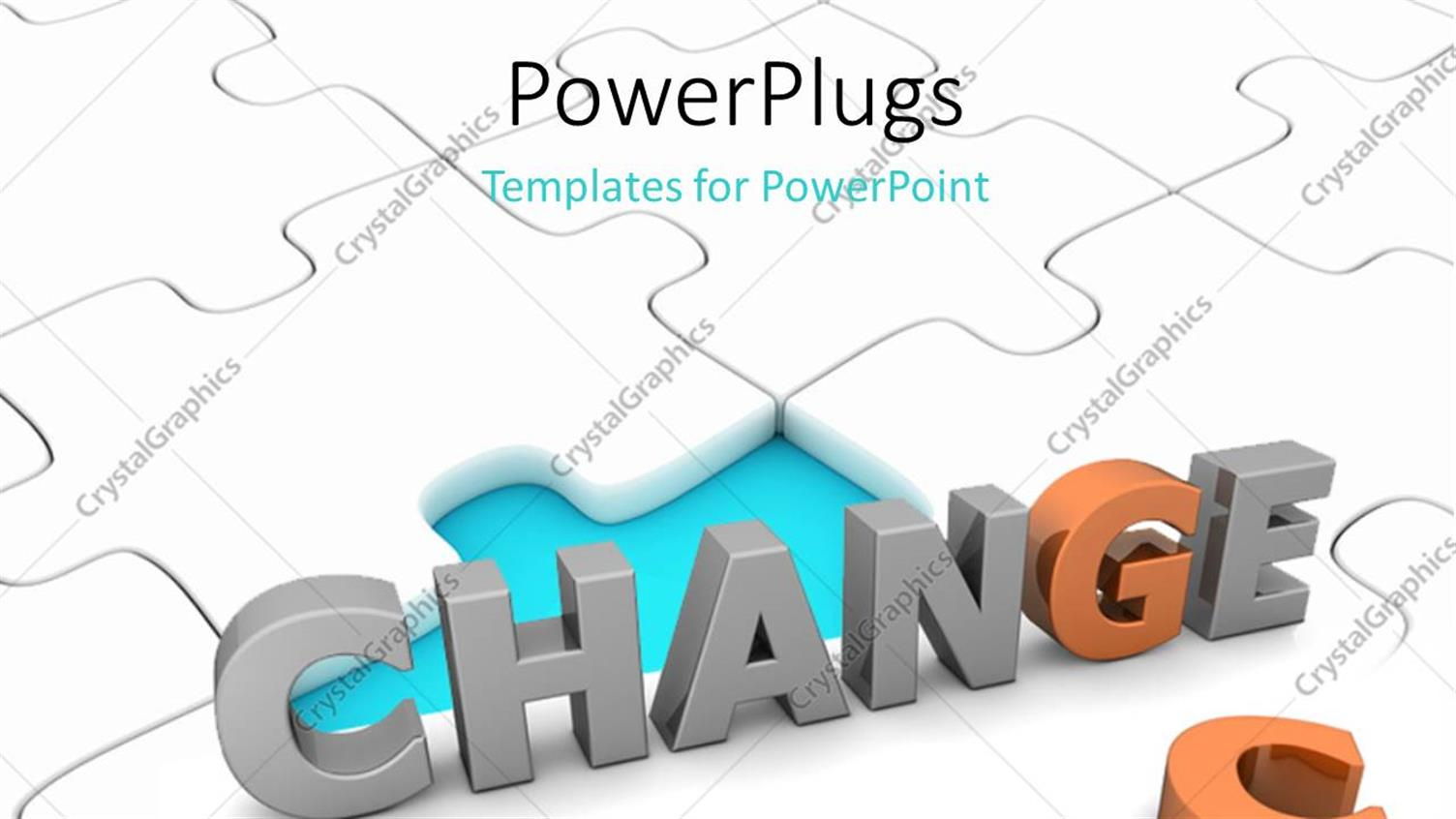 PowerPoint Template Displaying Depiction of Taking CHANCE to Effect CHANGE on White Jigsaw Puzzle