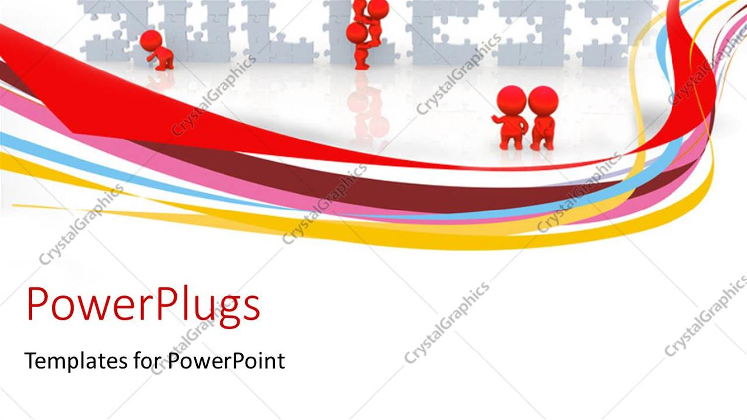PowerPoint Template Displaying Depiction of Teamwork with Red Colored Men Putting Success Puzzle Together