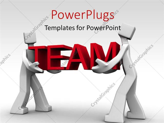PowerPoint Template: Depiction of teamwork with two men carrying the ...