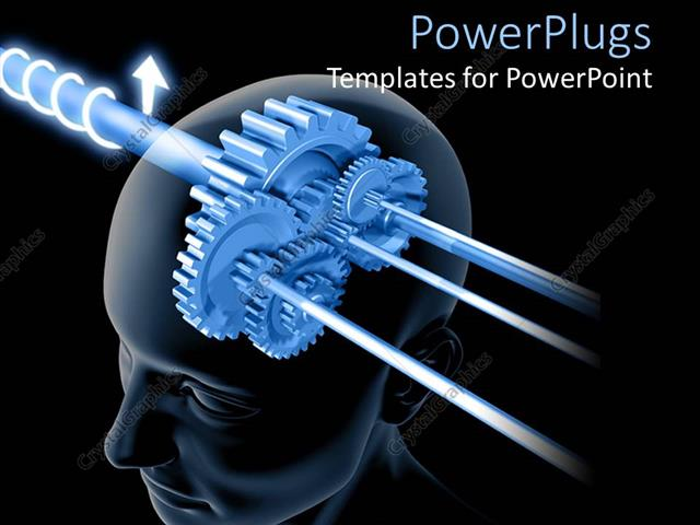 PowerPoint Template Displaying Depiction of Thinking with Connected Gears in Human Head