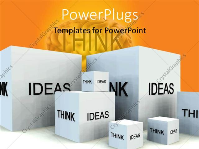PowerPoint Template Displaying Depiction of Thoughts and IDEAS with White Cubes and Human Brain