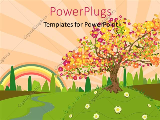 Powerpoint Template Depiction Of Trees And Summer Countryside With