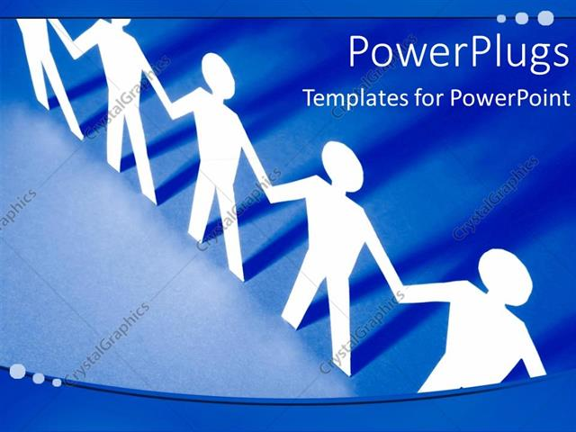 powerpoint template depiction of unity with white paper men holding