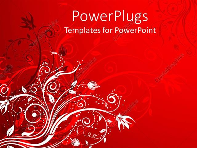 PowerPoint Template Displaying a Depiction of Various Flowers with their Reflection in Red Background
