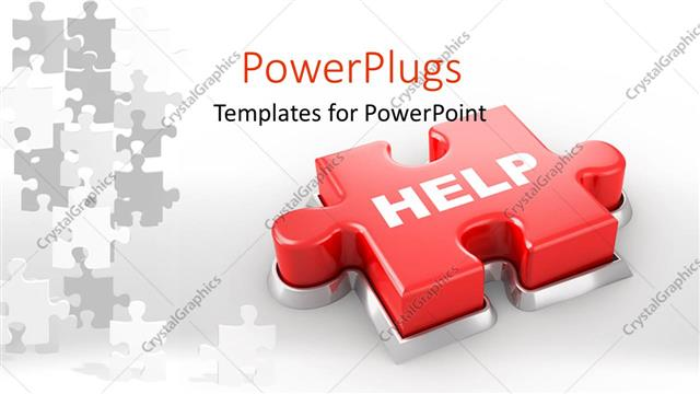 PowerPoint Template Displaying a Piece of Puzzle with the Word Help