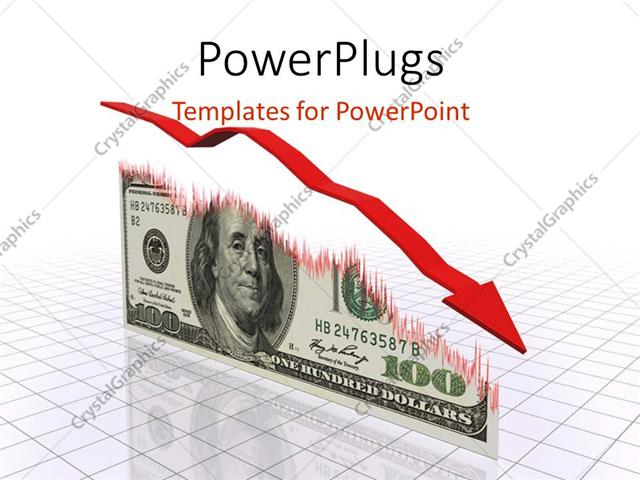 powerpoint template displaying a descending red arrow over a us dollar bill