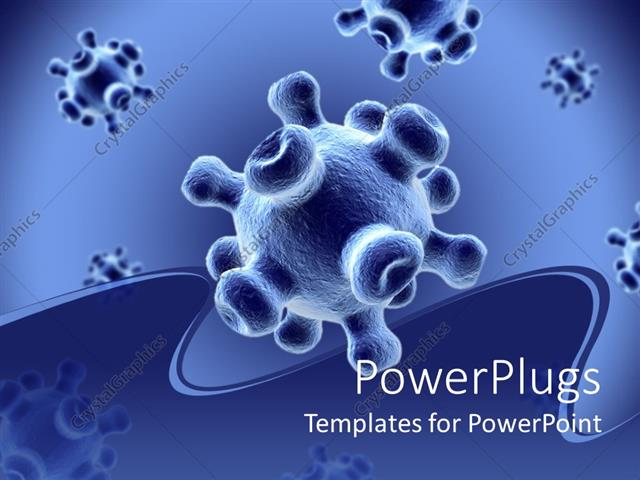 Powerpoint template detailed 3d viruses spread on a blue background powerpoint template displaying detailed 3d viruses spread on a blue background with wavy insertion toneelgroepblik Image collections
