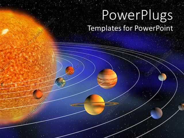 powerpoint template diagram representing planets of the solar
