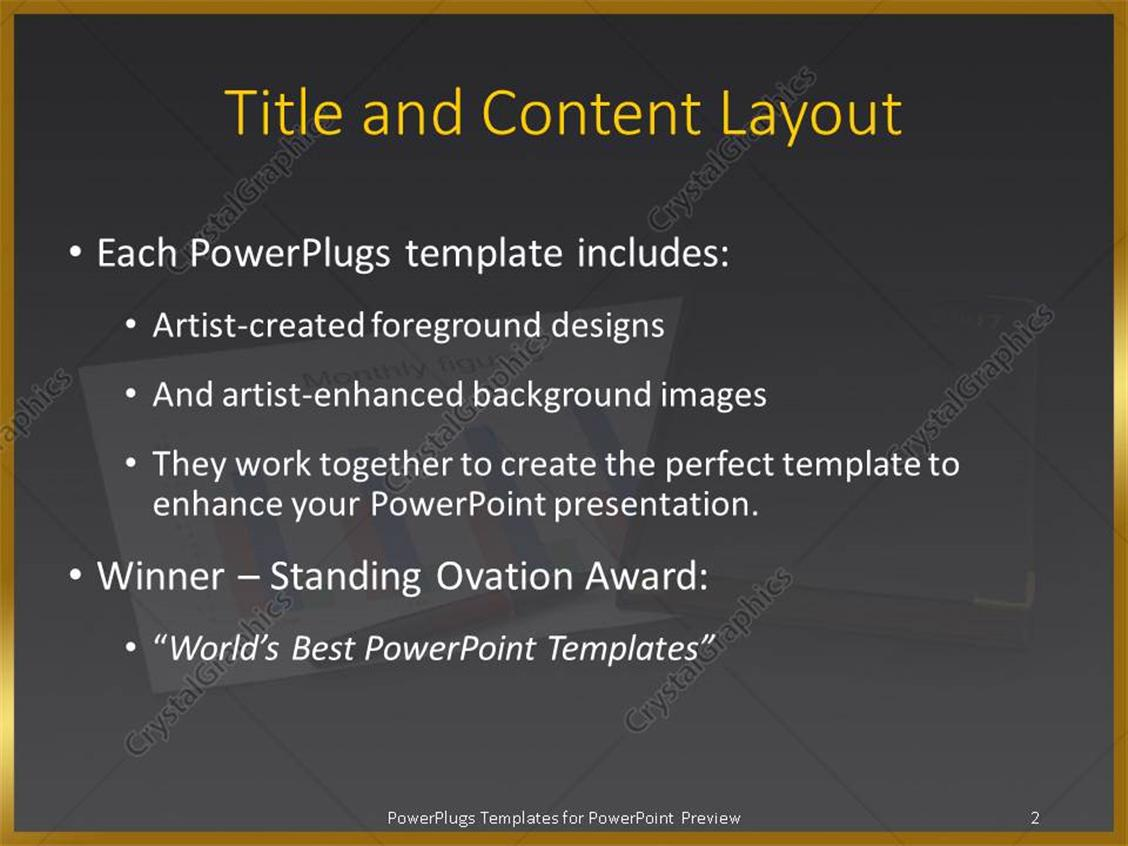 PowerPoint Template: Diary together with financial chart and pen ...