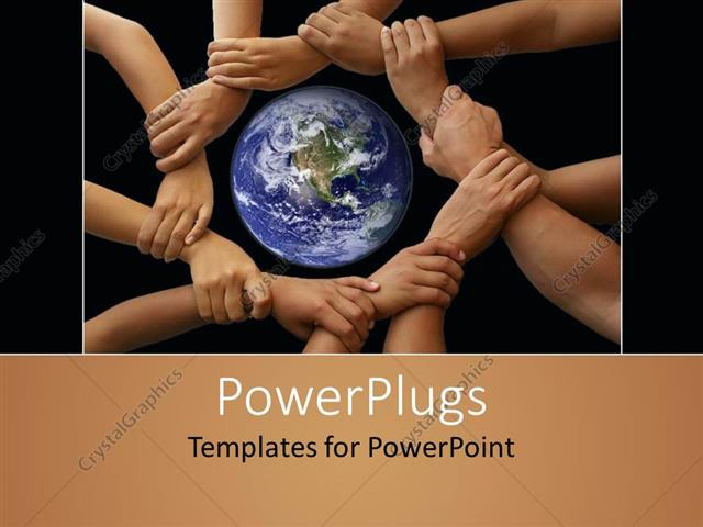 PowerPoint Template Displaying Different Colored Hands Holding Each Other A World Without Racism