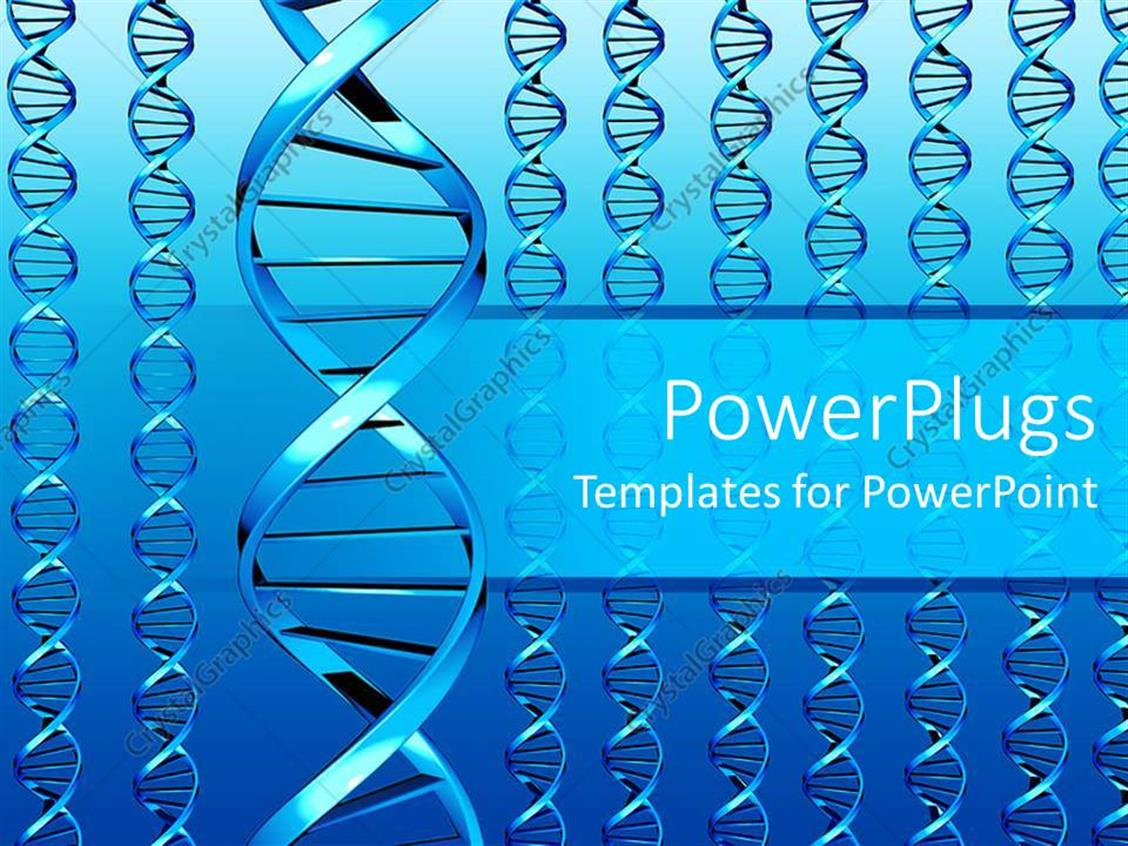 PowerPoint Template Displaying Different Sets of DNA Colored in Beautiful Blue Color