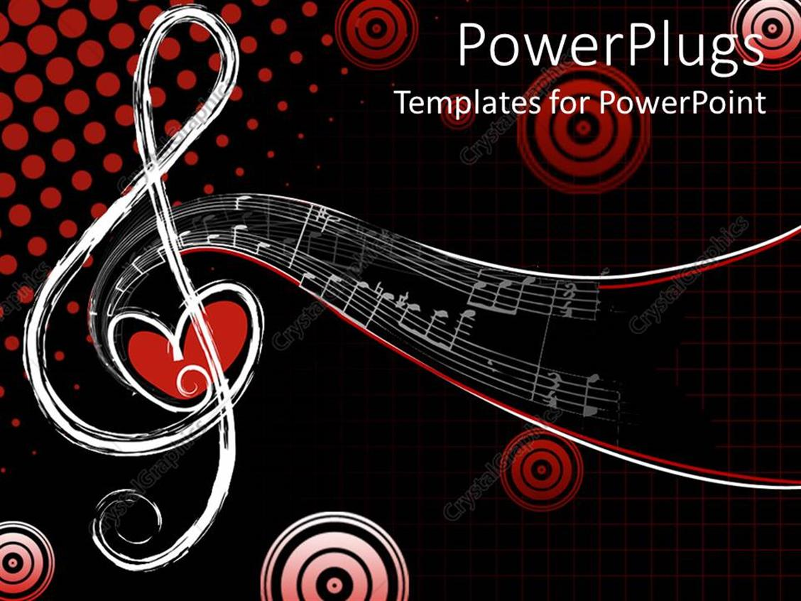 Powerpoint Template Different Shapes Of Musical Notes With Love