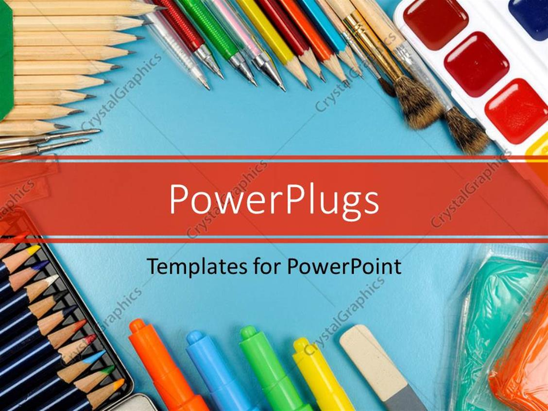 PowerPoint Template Displaying Different Writing Materials and Tools on a Blue Surface