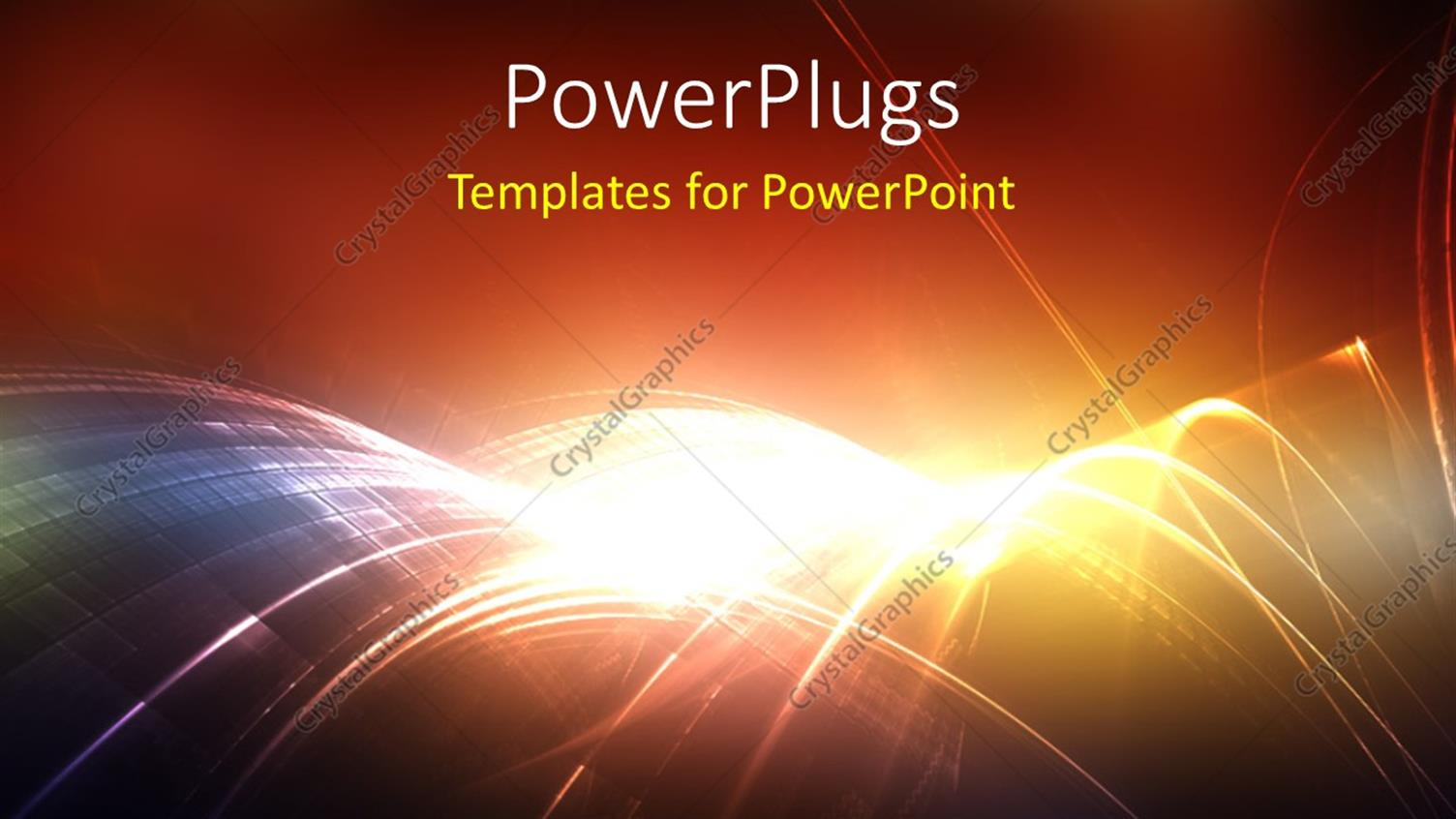 PowerPoint Template Displaying Digital Abstract Background with Rays