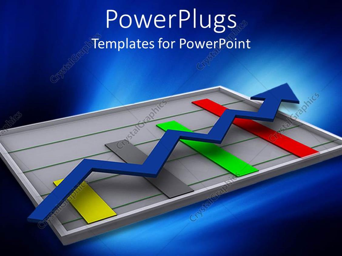 PowerPoint Template Displaying Digital Depiction of Graphic Chart with Colored Bars and Blue Arrow