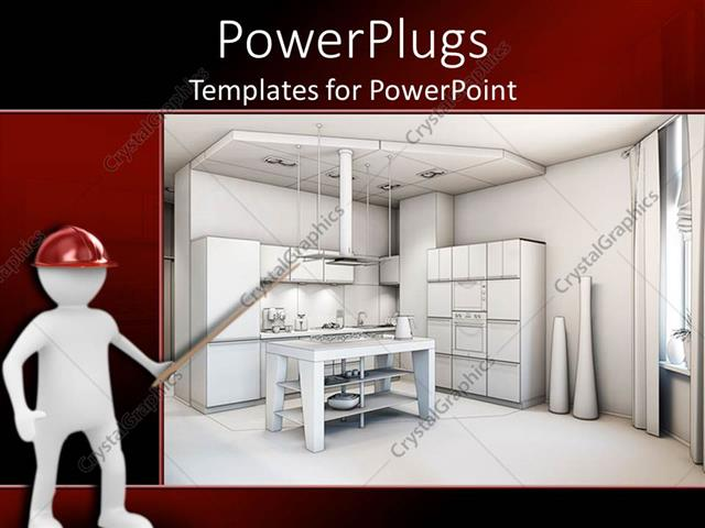 Powerpoint template digital representation of kitchen interior powerpoint template displaying digital representation of kitchen interior design and architecture of kitchen toneelgroepblik Gallery