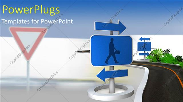 PowerPoint Template Displaying a Road Sign Post with Two Blue Arrows