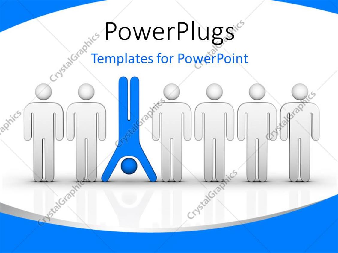 PowerPoint Template Displaying Distinct Blue Colored Man Standing Upside-Down among Others