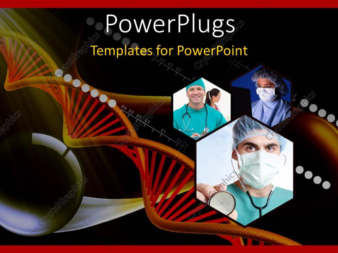 PowerPoint Template Displaying DNA Strand and Collage of Medical Doctors with Stethoscope across Neck