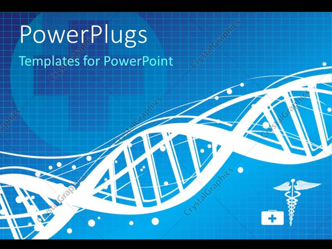 PowerPoint Template Displaying a DNA Structure with Bluish Background and Place for Text