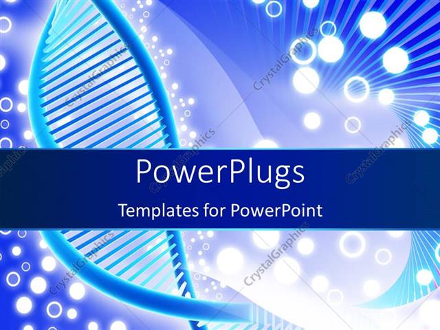 PowerPoint Template Displaying a DNA Structure with White Circles in the Background
