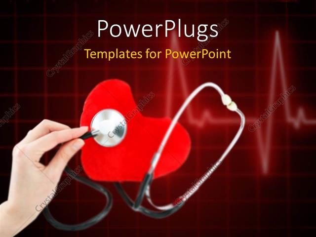 Powerpoint Template  A Doctor Checking A Heart With