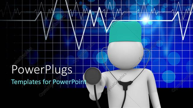 PowerPoint Template Displaying Doctor with Stethoscope in Foreground with ECG Effect