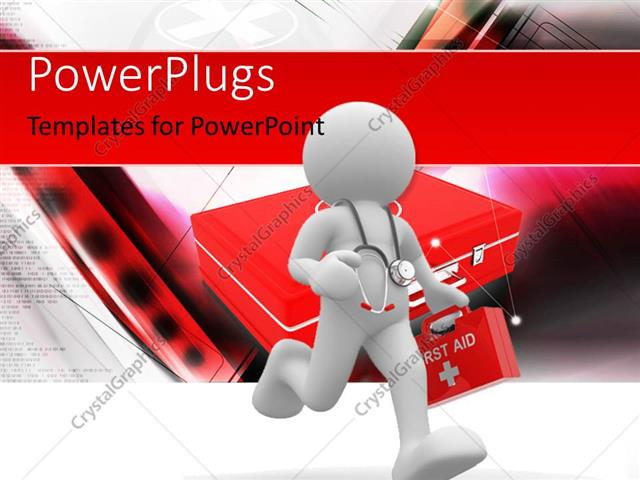 Powerpoint Template Doctor With Stethoscope Rushing To Patient With
