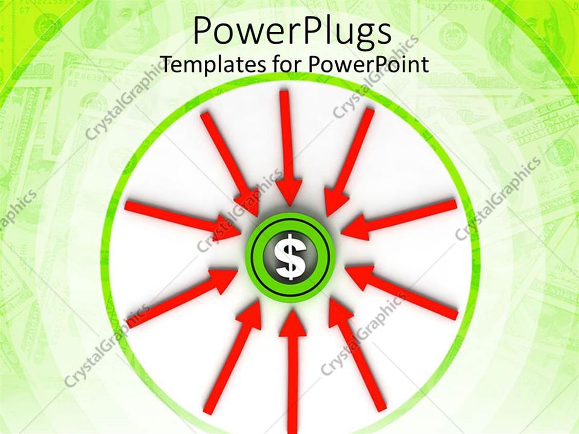 PowerPoint Template: dollar sign in the middle of a green circle ...
