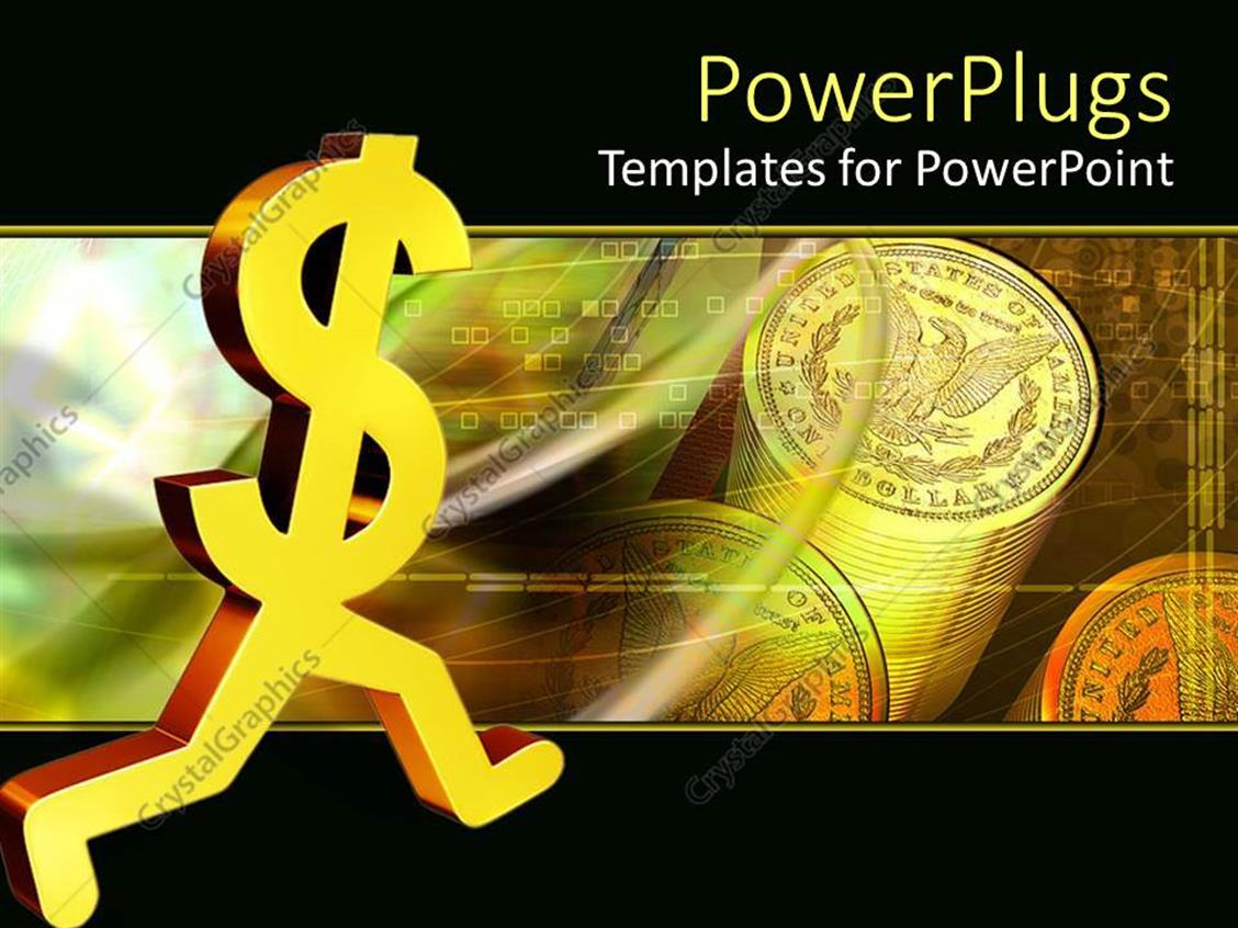 PowerPoint Template Displaying a Dollar Sign Running with Dollar Coins in the Background