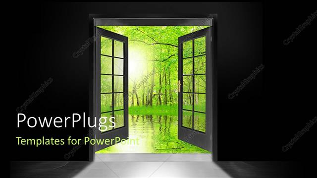 PowerPoint Template Displaying Double Glass Doors Opened to Show Green Forest Trees and Water Reflection
