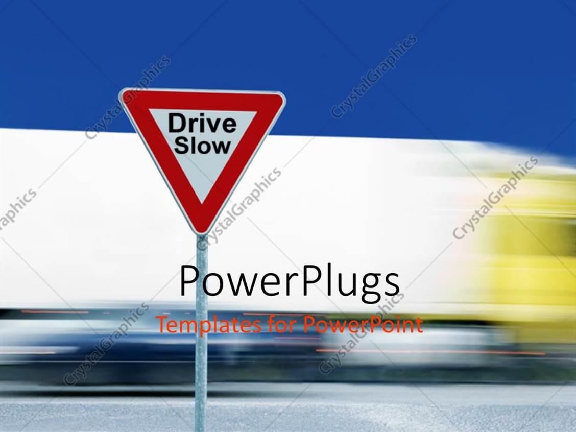 PowerPoint Template Displaying a Driving Sign with a Road in the Background and Place for Text