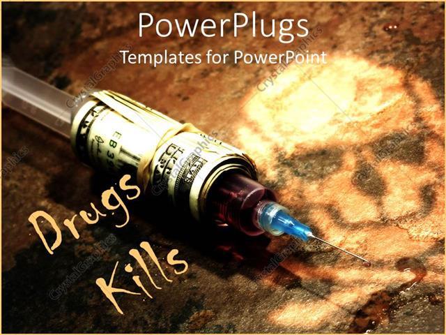 Powerpoint template drug syringe covered in stack of money on dark powerpoint template displaying drug syringe covered in stack of money on dark background with skull toneelgroepblik Gallery