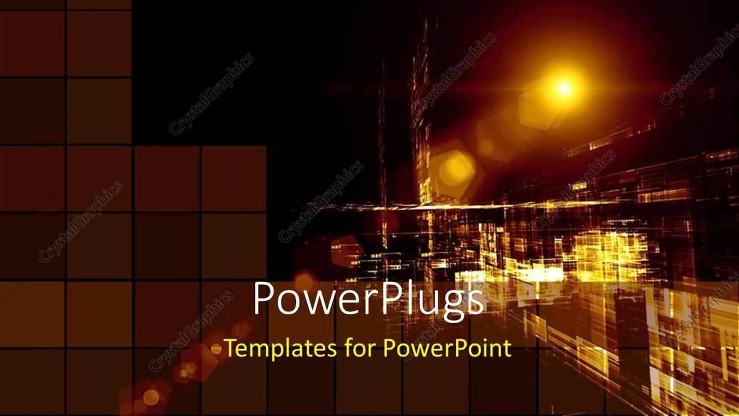 PowerPoint Template Displaying a Distant View of a Street in the Night with Lots of Lights