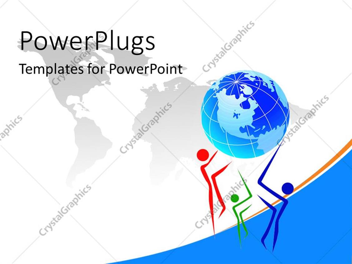 PowerPoint Template Displaying Earth Needs Helping Hand by People who Care with World Map