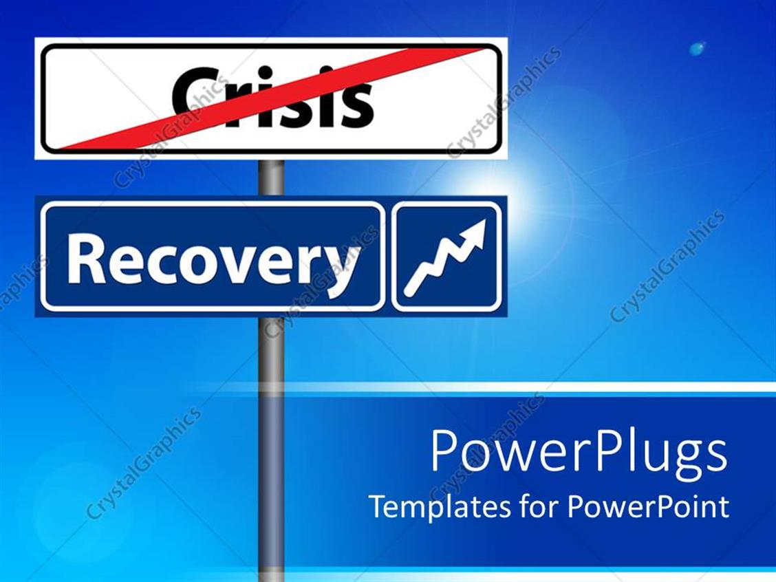 PowerPoint Template Displaying Economic Recovery Recession Metaphor with Crisis and Recovery Street Signs