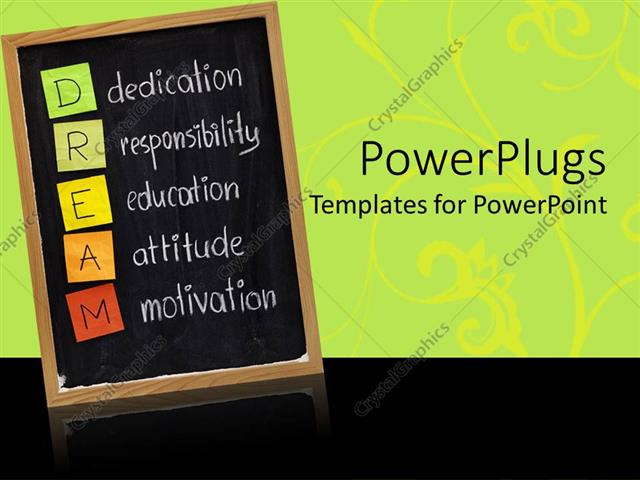 powerpoint template education blackboard with dream acronym on