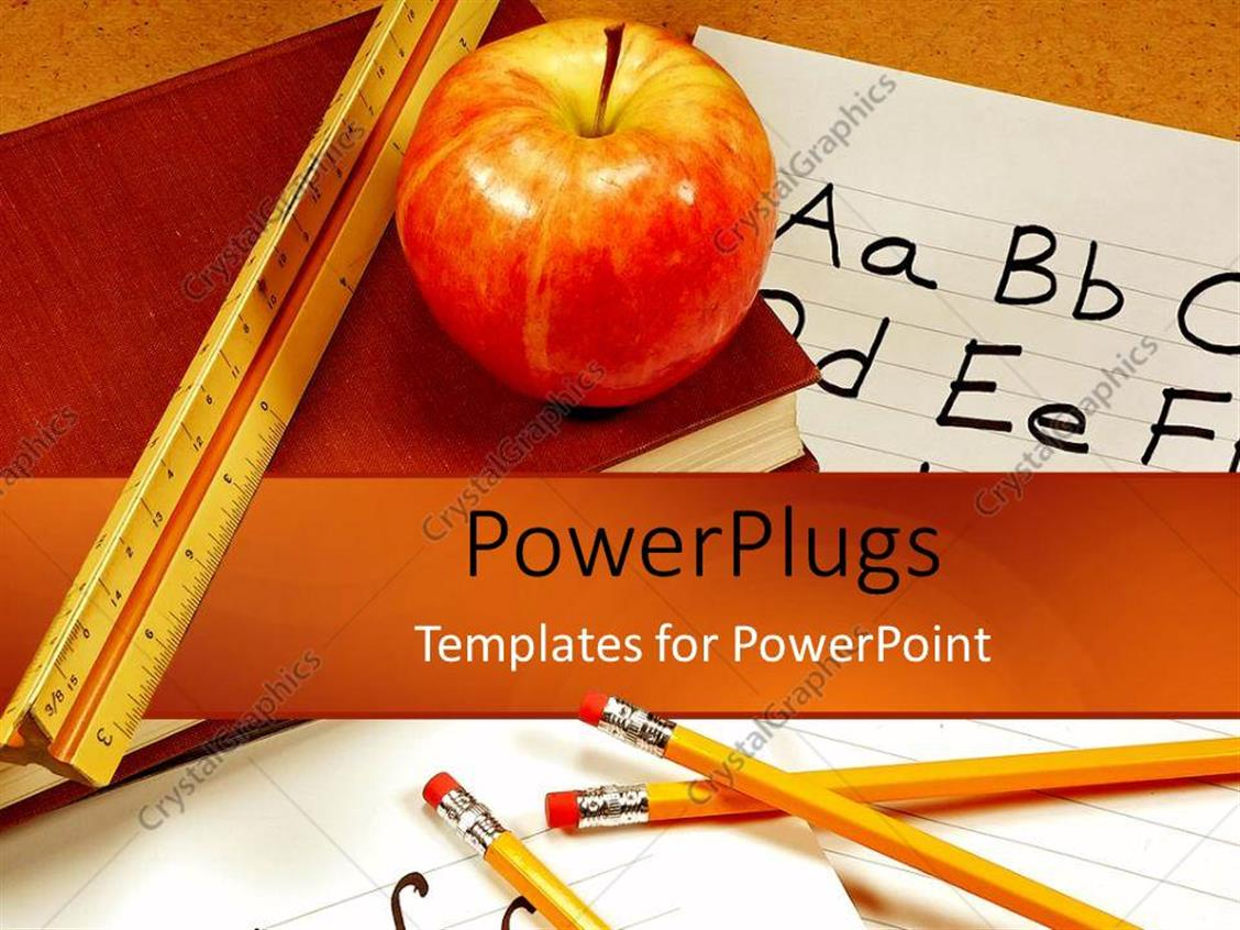 PowerPoint Template Displaying Education Desk Teachers Apple Ruler Pencils Paper Pens Books School
