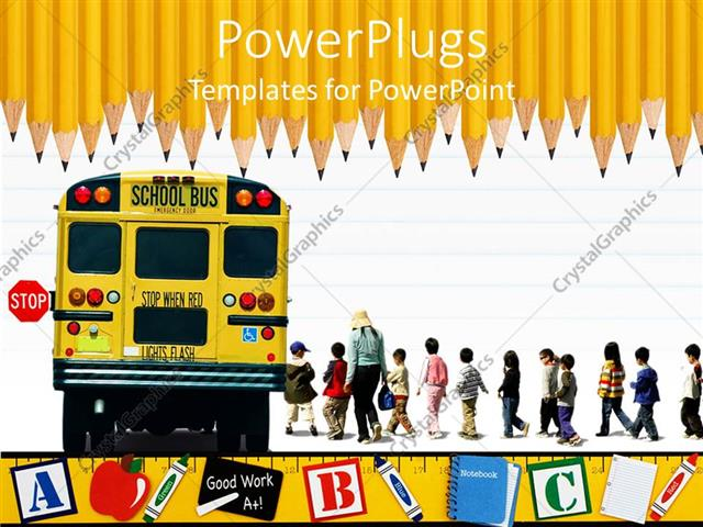 Powerpoint template education school theme with yellow school bus powerpoint template displaying education school theme with yellow school bus kids and teacher pupils toneelgroepblik Choice Image