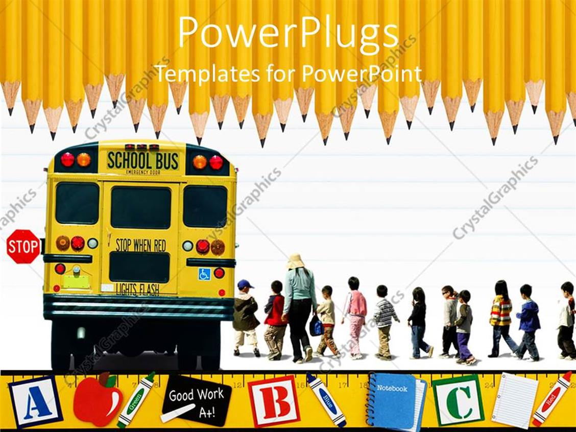 Powerpoint Template Education School Theme With Yellow School Bus