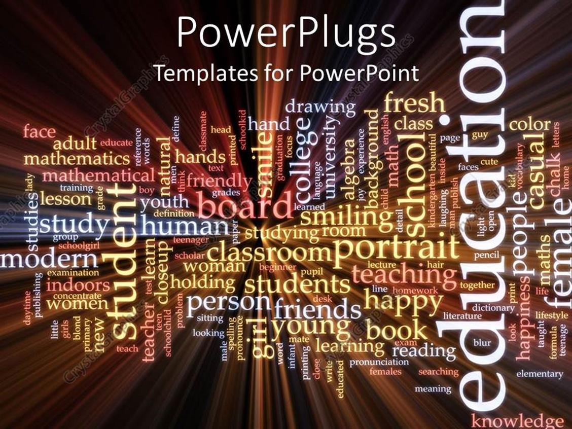 PowerPoint Template Displaying Education Studies Word Cloud Inspiration Students Study Read