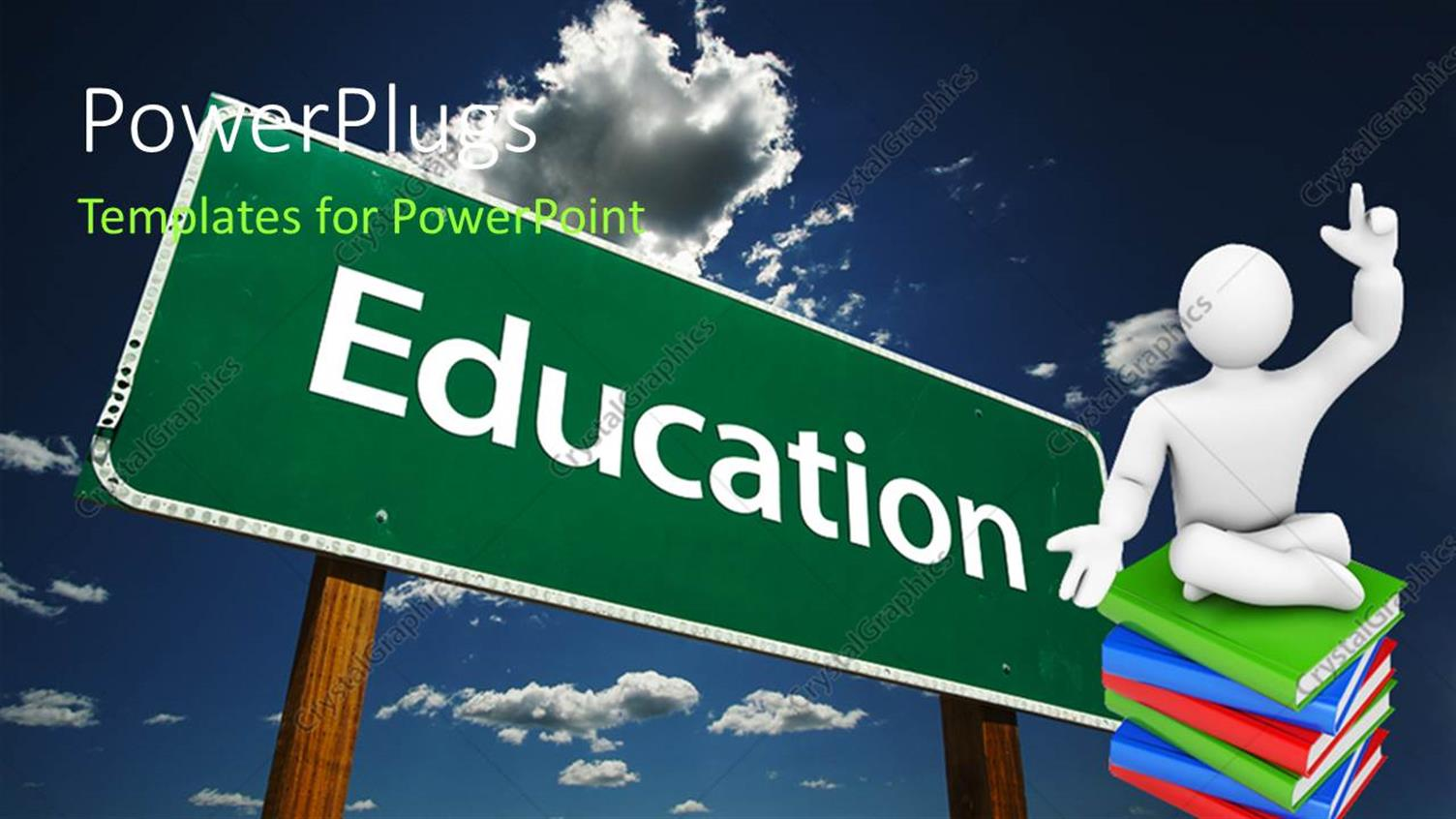 Powerpoint Template Education Theme With Education Word On Green