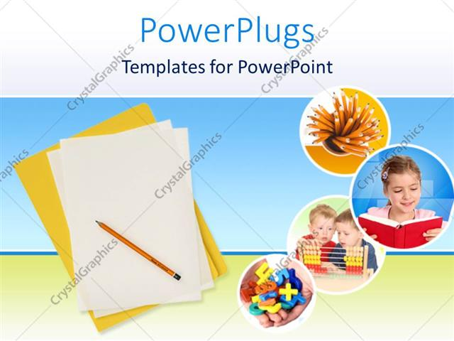 Powerpoint template education theme with yellow folder and white powerpoint template displaying education theme with yellow folder and white papers with pencil and four toneelgroepblik Gallery