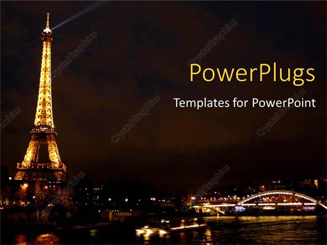 Powerpoint Template Eiffel Tower From Paris Beautiful Gloomy City